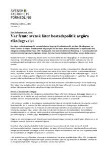 Nya Bobarometern visar: Var femte svensk låter bostadspolitik avgöra riksdagsvalet