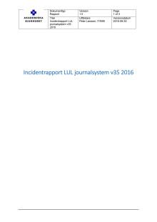 Incidentrapport LUL journalsystem v35 2016