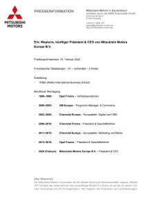 Lebenslauf Eric Wepierre, CEO Mitsubishi Motors Europe