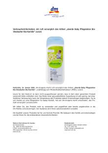 """Verbraucherinformation: dm ruft vorsorglich den Artikel """"alverde Baby Pflegelotion Bio-Sheabutter Bio-Kamille"""" zurück"""
