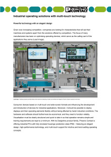 Industrial operating solutions with multi-touch technology