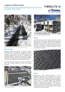 Fibrelite and Trenwa Provide Lightweight Road Crossing Trench Covers for Leading US Utility Provider