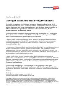 Norwegian ostaa kolme uutta Boeing Dreamlineria