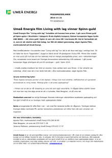 Umeå Energis film Living with lag vinner Spinn-guld