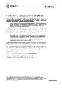 Scandic receives prestigious award from TripAdvisor