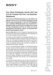 Sony World Photography Awards 2019: Das sind die Finalisten des Profi- und Studenten-Wettbewerbs