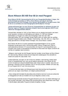 Sture Nilsson Bil AB firar 60 år med Peugeot