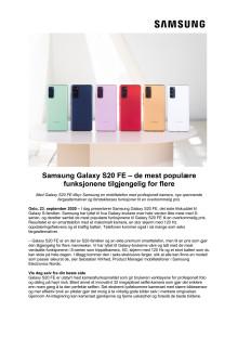 Samsung Galaxy S20 FE – de mest populære funksjonene tilgjengelig for flere