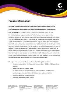 congstar Fair Flat demnächst mit mehr Daten und standardmäßig LTE 25