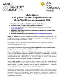 L'Italia sbanca  il più grande concorso fotografico al mondo:  i Sony World Photography Awards 2016