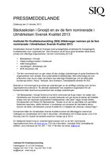 Bäckaskolan i Gnosjö en av de fem nominerade i Utmärkelsen Svensk Kvalitet 2013