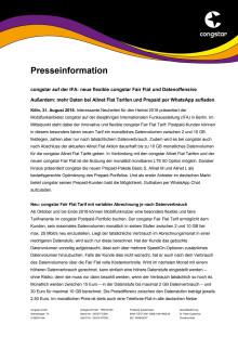 congstar auf der IFA: neue flexible congstar Fair Flat und Datenoffensive