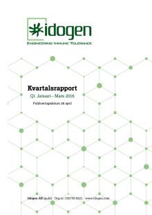 Idogen offentliggör kvartalsrapport för perioden Januari-Mars 2016