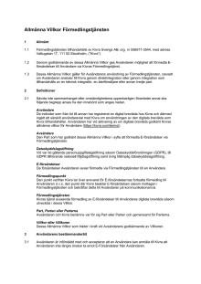Allmänna Villkor Förmedlingstjänsten - 2019-05-08
