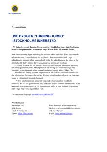 """HSB bygger """"Turning Torso"""" i Stockholms innerstad"""