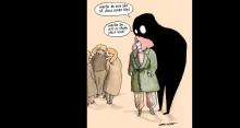 Självdistans och humor i konstutställningen Livscoachen på Världsdagen för psykisk hälsa