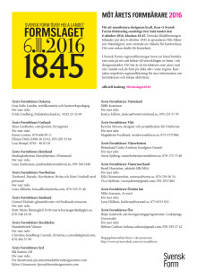 Möt årets alla Formbärare 2016