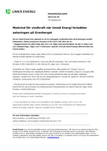 Medvind för vindkraft när Umeå Energi fortsätter satsningen på Granberget