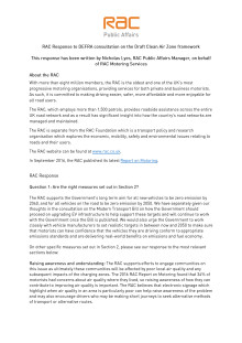 RAC response to the DEFRA clean air zone framework consultation