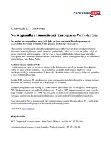 Norwegianilla ensimmäisenä Euroopassa WiFi -lentoja
