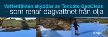 Vattentäkten skyddas av Tencate GeoClean –  som renar dagvattnet från olja