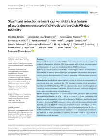 Significant reduction in heart rate variability is a feature of acute decompensation of cirrhosis and predicts 90‐day mortality