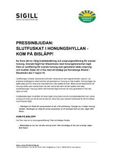 Pressinbjudan: Slutfuskat i honungshyllan - kom på bisläpp!