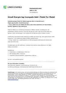 Umeå Energis lag trampade bäst i Pedal For Medal
