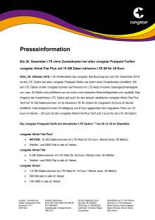 Bis 20. Dezember LTE ohne Zusatzkosten bei allen congstar Postpaid-Tarifen