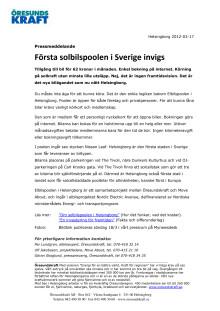 Första solbilspoolen i Sverige invigd