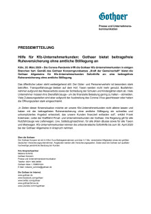 Hilfe für Kfz-Unternehmerkunden: Gothaer bietet beitragsfreie Ruheversicherung ohne amtliche Stilllegung an