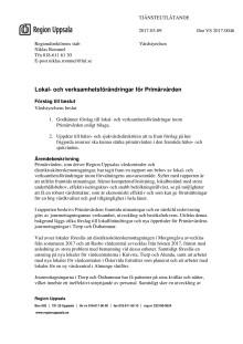 Förslag till vårdstyrelsen om lokal- och verksamhetsförändringar i Primärvården