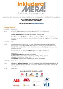 Program för konferensen Inkludera mera i Västerås den 17 oktober