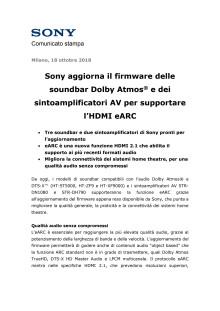 Sony aggiorna il firmware delle soundbar Dolby Atmos® e dei sintoamplificatori AV per supportare l'HDMI eARC