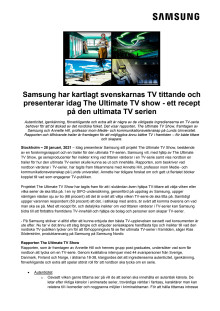 Samsung har kartlagt svenskarnas TV tittande och presenterar idag The Ultimate TV show - ett recept på den ultimata TV serien