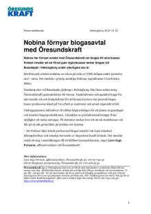 Nobina förnyar biogasavtal med Öresundskraft