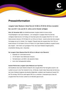 congstar Cyber Weekend: Allnet Flat mit 10 GB & LTE 50 für 20 Euro monatlich