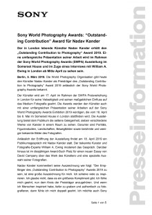 "Sony World Photography Awards: ""Outstanding Contribution"" Award für Nadav Kander"