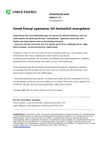 Umeå Energi uppmanar till fantasifull energidans