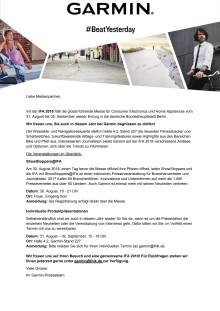 Einladung: Garmin auf der IFA 2018