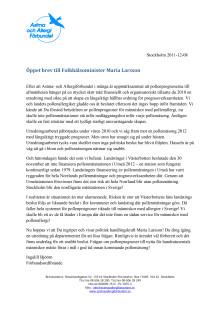 Öppet brev till Folkhälsominister Maria Larsson