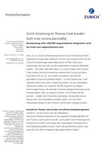 Zurich Erstattung an Thomas Cook Kunden läuft trotz Corona planmäßig
