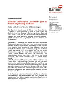 "Barnimer Literaturpreis ""Eberhard"" geht an Autorin Katja Ludwig aus Berlin"