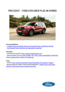 Pressekit - Ford Explorer Plug-in Hybrid