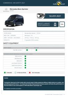 Euro NCAP Commercial Van Testing - Mercedes-Benz Sprinter datasheet
