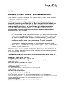 Airport City Stockholm till SMART Airports Conference 2013
