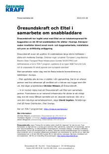 Öresundskraft och Eltel i samarbete om snabbladdare
