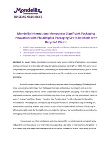Mondelēz International Announces Significant Packaging Innovation with Philadelphia Packaging Set to be Made with Recycled Plastic