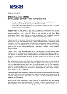 News Release: Epson Malaysia Scores Double-Digit Growth For 3 Years Running