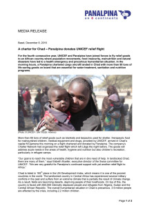 A charter for Chad – Panalpina donates UNICEF relief flight